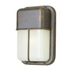 Trans Globe One Light Satin Aluminum Frosted Polycarbonate Rectangle Ribbed Glas