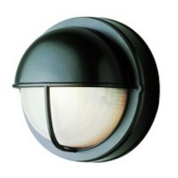 Trans Globe One Light Rust Frosted Round Sunburst Ribbing Glass Marine Light