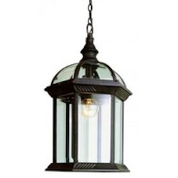 Trans Globe One Light Rust Clear Beveled Hexagon Glass Hanging Lantern
