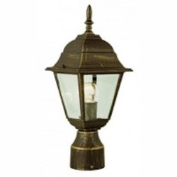 Trans Globe One Light Rust Clear Beveled Square Glass Post Light