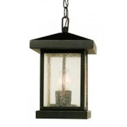 Trans Globe Two Light Weathered Bronze Amber Seeded Glass Hanging Lantern