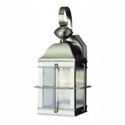 Trans Globe One Light Brushed Nickel Clear Seeded Rectangle Glass Wall Lantern