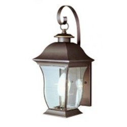 Trans Globe Two Light Weathered Bronze Clear Beveled Curved Rectangle Glass Wall