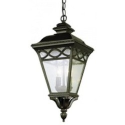Trans Globe Two Light Burnished Bronze Clear Seeded Glass Hanging Lantern