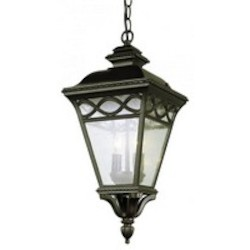 Trans Globe Three Light Rust Clear Seeded Glass Hanging Lantern