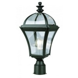 Trans Globe One Light White Clear Beveled Edges Curved Glass Roof Glass Post Lig