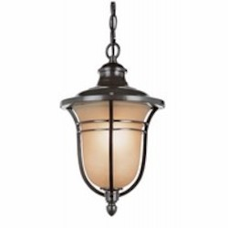 Trans Globe One Light Rubbed Oil Bronze Amber Frost Glass Hanging Lantern