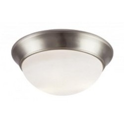Trans Globe Two Light Brushed Nickel White Frosted Glass Bowl Flush Mount