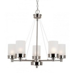Trans Globe Five Light Brushed Nickel White Frosted Glass Up Chandelier