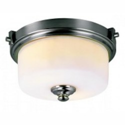 Trans Globe Two Light Brushed Nickel Frosted Glass Drum Shade Flush Mount