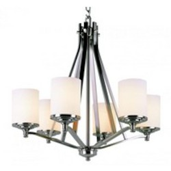 Trans Globe Six Light Brushed Nickel Frosted Glass Candle Chandelier