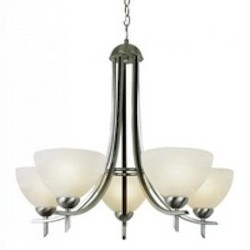 Trans Globe Five Light Frosted Glass Rubbed Oil Bronze Up Chandelier