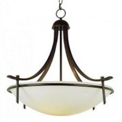 Trans Globe Three Light Frosted Glass Rubbed Oil Bronze Up Pendant