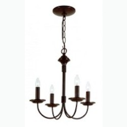 Trans Globe Four Light Rubbed Oil Bronze Candle Chandelier