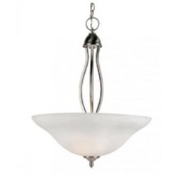 Trans Globe Three Light Brushed Nickel Frosted Glass Up Pendant