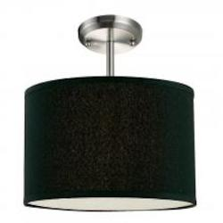 Z-Lite One Light Brushed Nickel Black Shade Drum Shade Semi-Flush Mount