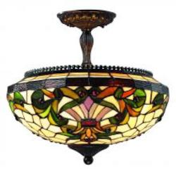 Z-Lite Three Light Chestnut Bronze Multi Color Tiffany Glass Bowl Semi-Flush Mount
