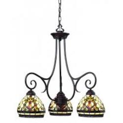 Z-Lite Three Light Chestnut Bronze Multi Color Tiffany Glass Down Chandelier