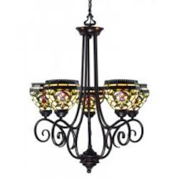 Z-Lite Five Light Chestnut Bronze Multi Color Tiffany Glass Up Chandelier