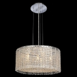 Krane Series 5-Light Chrome 18'' Round Pendant Chandelier with European, Swarovski, or Colored Crystals SKU# 11260