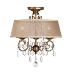World Imports Three Light Gold Drum Shade Semi-Flush Mount