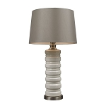 Dimond One Light Ceram Crackle Ceramic With Brushed Steel Base Light Grey Nyl