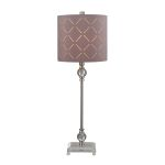 Dimond One Light Brushed Steel/Clear Taupe Nylon Styrene Shade Table Lamp