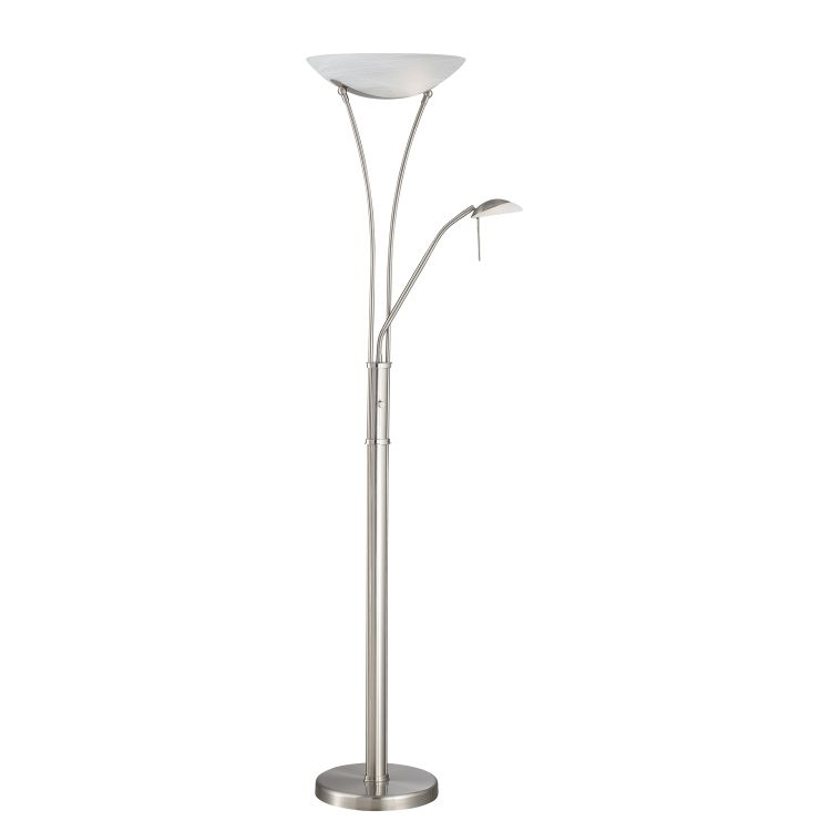 Cfl Floor Lamp Torchiere : Lite source inc torchiere reading lamp ps frost e cfl wx jcd g w polished steel ls