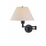 Lite Source Inc. Swing-Arm Wall Lamp D/Brz W/White Shade 100W/A Type