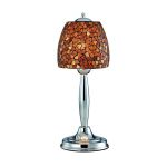 Lite Source Inc. Table Lamp Chrome/Amber Mosaic Shade Type B 60W