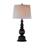 Lite Source Inc. Table Lamp Dark Bronze W/Linen Fabric Shade Type A 150W