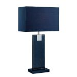 Lite Source Inc. Table Lamp Black Leather/Black Fabric Shade E27 Cfl 13W