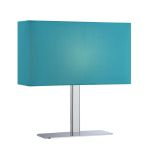 Lite Source Inc. Table Lamp Chrome/Blue Fabric Shade E12 Type G 40W
