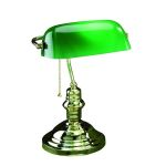 Lite Source Inc. 1 Light Bankers Lamp With Green Glass Shade