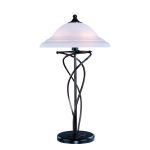 Lite Source Inc. Table Lamp Dark Bronze W/Cloud Glass Shade E27 Cfl 13Wx2