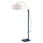 Lite Source Inc. Adjustable Arch Lamp Black/Chrome/Wht Fabric E27 Cfl 23Wx3