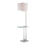 Lite Source Inc. Floor Lamp W/Glass Table Ps/White Fabric Shade E27 A 150W