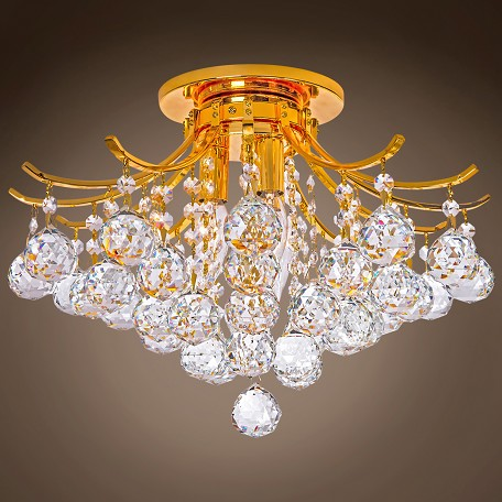 "Mandarin Milan Gold 16"" Flush Mount Crystal Chandelier"