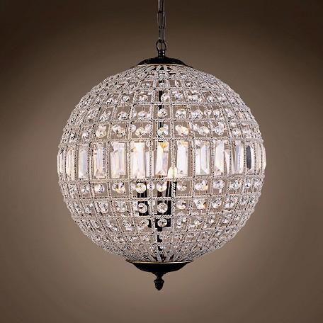 19th C Crystal Sphere 3 Light 18 Chandelier