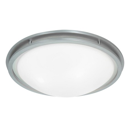 Access Brushed Steel / White Aztec 2 Light Flush Mount Ceiling Fixture
