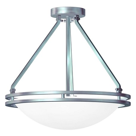 Access Brushed Steel / White Aztec 3 Light Semi-Flush Ceiling Fixture