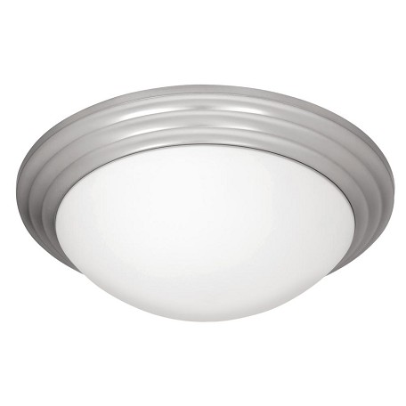 Access Brushed Steel / Opal Strata 1 Light Led Flush Mount Ceiling Fixture