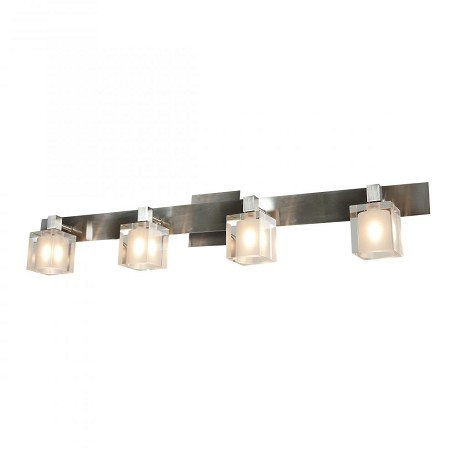 Access Four Light Brushed Steel  Frosted Crystal  Glass Wall Light