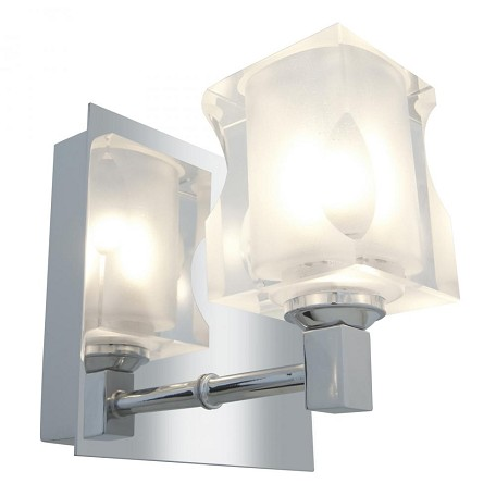 Access Chrome / Frosted Crystal Glasa­E 1 Light Bathroom ...