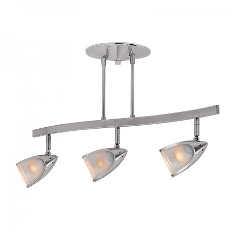 Access Brushed Steel / Opal Comet 3 Light Semi-Flush Ceiling Fixture