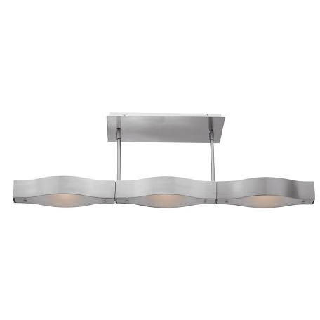 Access Brushed Steel / Frosted Titanium 3 Light Semi-Flush Ceiling Fixture