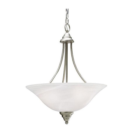 Kichler Brushed Nickel Telford 3-Bulb Indoor Pendant With Bowl-Shaped Glass Shade