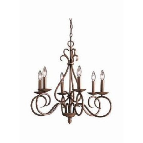 Kichler Tannery Bronze Norwich Single-Tier Candle-Style Chandelier With 6 Lights