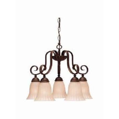 Kichler Five Light Tannery Bronze Down Chandelier
