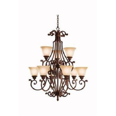 Kichler Tannery Bronze With Gold Larissa 2-Tier  Chandelier With 9 Lights
